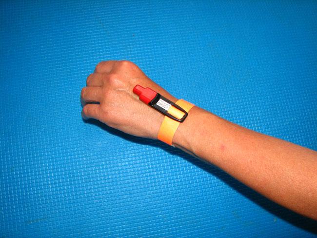 Закрепление чипа контрольным браслетом